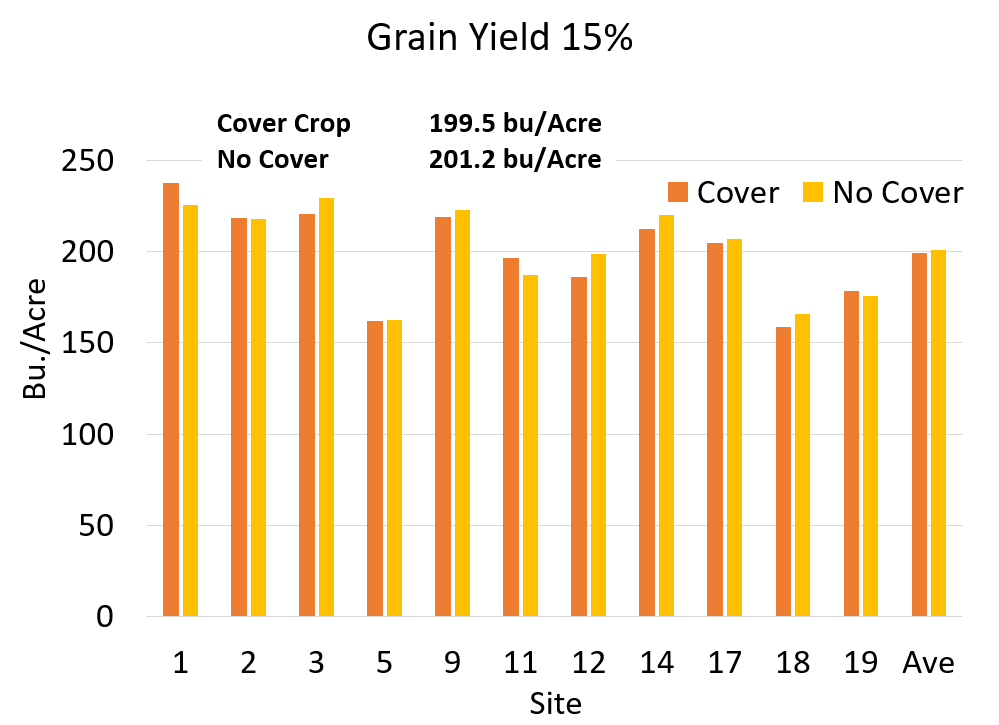 Grain yield adjusted to 15 percent moisture. Cover crop yielded 199.5 bushels per acre whereas no cover crop yielded 201.2 bushels per acre.