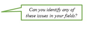 Can you identify these issues in your fields?