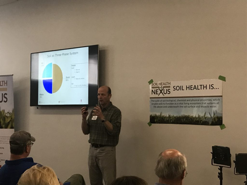 """Francisco Arriaga presents on the connection between soil health and water quality at the """"How to Teach Soil Health"""" Field Day."""