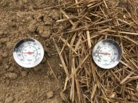 photo of two thermometers, one in bare soil and one in soil with residue cover