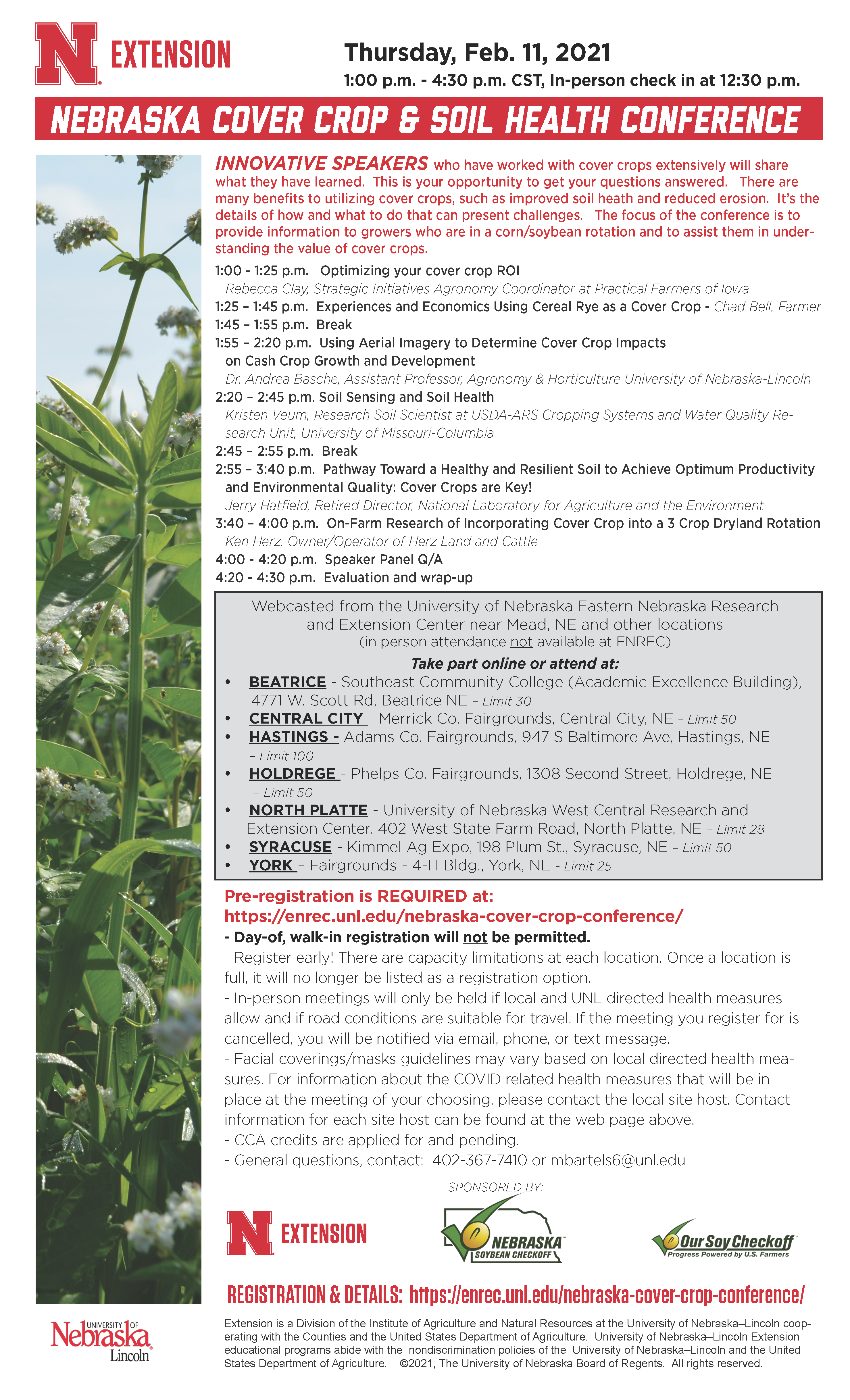 flyer for 2021 Nebraska cover crop and soil health conference